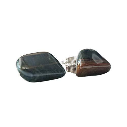 Blue Tiger Eye Gemstone Earrings 40x18x4mm,9.8g-h9998