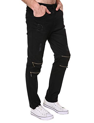 DAZZILYN Mens Slim Fit Stretch Ripped Destroyed Holes Skinny Jeans Zippers Denim Pants by DAZZILYN (Image #3)
