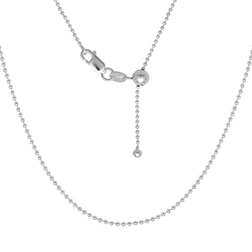 Sterling Silver Italian 16-22'' Adjustable Beaded Bolo Chain with Bead Charm by Beaux Bijoux