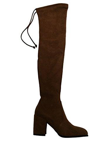 Kaitlyn Pan Block Heel Microsuede Slim fit Over The Knee Boots by Kaitlyn Pan