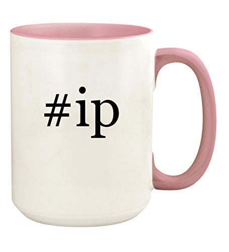 - #ip - 15oz Hashtag Ceramic Colored Handle and Inside Coffee Mug Cup, Pink