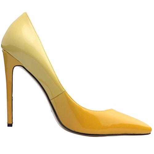 Escarpins 12CM Femme Chaussures jaune Gradient Aiguille Cause Glisser Calaier sur YnfRRxa
