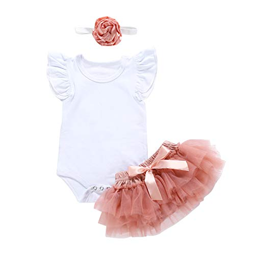 Newborn Infant Baby Girls Summer Skirt Set Fly Sleeve Romper Tutu Skirt + Headband Princess Dress Outfits (White & Pink, 12-18 Months) ()