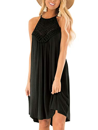 - YIBOCK Women's Summer Sleeveless Halter Neck Lace Solid Color Loose Mini Dress Black