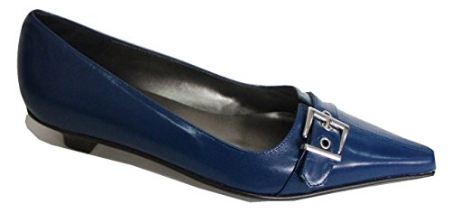 SHOES GALORE Navy Blue Low Heel Pointed Leather & Lined Court Shoe OsNFfGuIxG