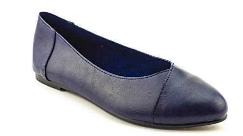 CALICO KIKI RICHELLE-CK01 Women's Ballerina Flats Ballet Shoes Casual Slip-On Comfort (5.5 US Navy PU)