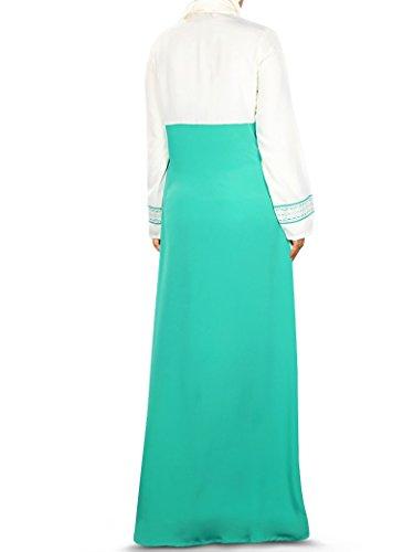 MyBatua islamique blanc et vert habillement décontracté et formel pour femmes abaya burqa AY-348