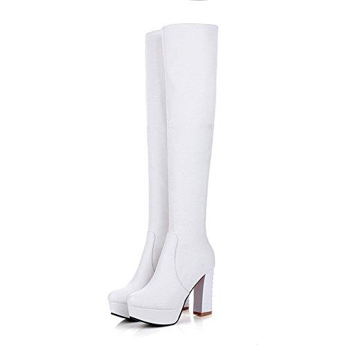VogueZone009 Damen Weiches Material Ziehen auf Rund Zehe Hoher Absatz Hoch-Spitze Stiefel Weiß
