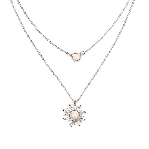 Jovono Boho Multilayered Opal Pendant Necklaces Sun Flower Pendant Chain Jewelry for Women and Girls (Silver) ()