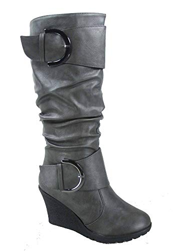 - Top Moda Pure-65 Women's Fashion Round Toe Slouch Buckle Wedge Mid Calf Boot Shoes (10 B(M) US, Grey)