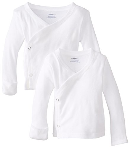 Gerber Unisex-Baby Newborn 2 Pack Long Sleeve Side Snap Mitten Cuffs Shirt, White, 0-3 Months