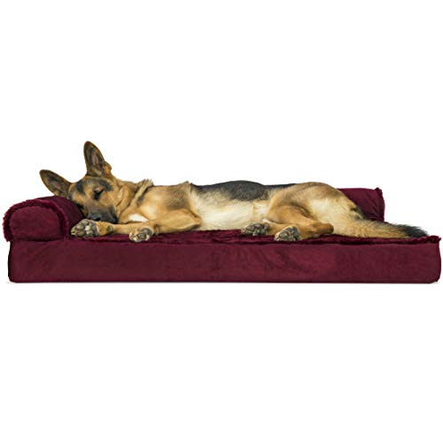 Furhaven Pet Dog Bed | Deluxe Orthopedic Plush Faux Fur & Velvet L Shaped Chaise Lounge Living Room Corner Couch Pet Bed w/ Removable Cover for Dogs & Cats, Merlot Red, Jumbo