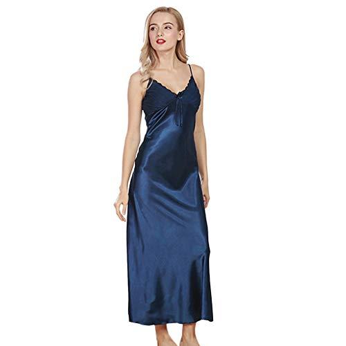 New Sexy Ladies Long Satin Nightgown Women Night Dress Spaghetti Strap Lace Patchwork Sleeveless Sleepwear Dresses Camisones L Blue