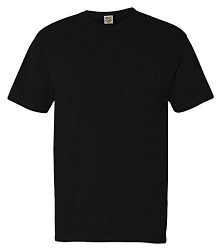 Color Black T-shirt - Comfort Colors 6.1 oz. Garment-Dyed Pocket T-Shirt-L (Black)