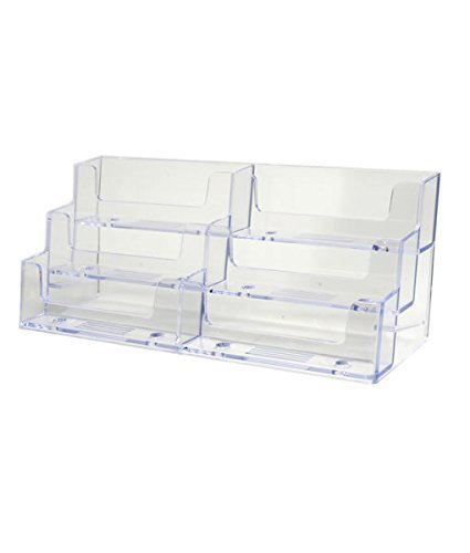 GBSTORE 2 Pcs Deluxe 6 Pocket Clear Business Card Holder Counter Top Style ()