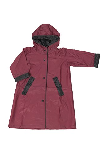 Fit Rite Boys Girls Hooded Waterproof Long Raincoat Full Length Rain Jacket for Children and Toddler with Reflective Stripes (4, Burgundy) ()