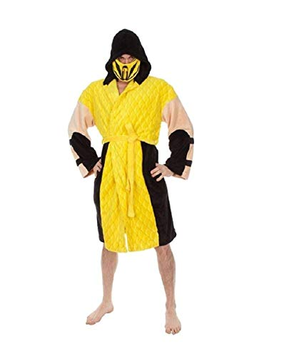 Mortal Kombat Men's Scorpion Hooded Plush Robe, Yellow, One Size -