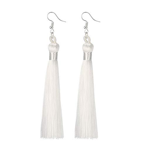 (Charms Boho Silk Thread Long Tassel Dangle Drop Fringe Earrings Fabric Vintage Eardrop (White))