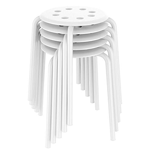 Yaheetech 17.3in Plastic Stack Stools Kids Children Stools for Classroom Backless Round Top Bar Stools Kitchen Home Garden Living Room Dining Room Pack of 5 White from Yaheetech