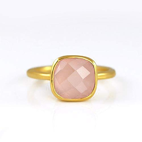 Pink Chalcedony ring, stackable ring, Vermeil Gold or silver, bezel set ring, cushion ring, pink gemstone ring, October Birthstone ring, Birthstone gift, opal ring, square ring