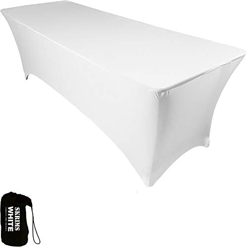 Amazin Gear SKRIMS PRO DJ Table Scrim Cover, 4 WHITE Stretch Spandex Tablecloth w/Cable Holes +FREE Bag, Ideal for Glow LED Light Effect