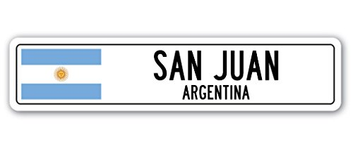 SAN JUAN, ARGENTINA Street Sign Argentinian flag city country road wall gift