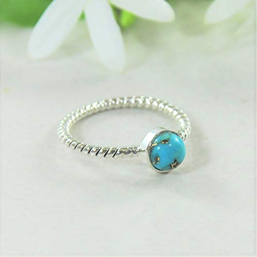 Sivalya NOVA Natural Blue Turquoise Gemstone Ring in 925 Sterling Silver - Twisted Rope Pattern Solid Silver Band Ring for Women - Size 8