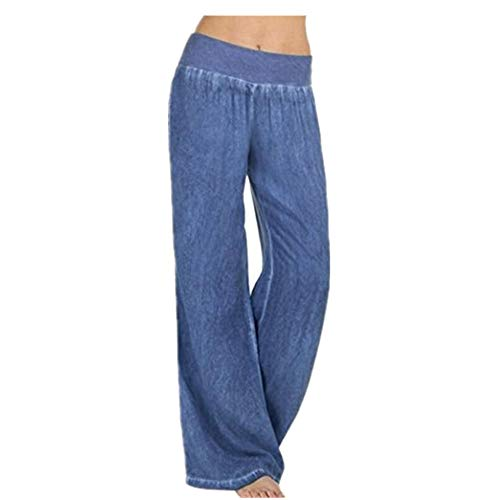 iYYVV Plus Size Womens Ladies Low Waist Pocket Elastic Trousers Baggy Wide Leg Pants ()
