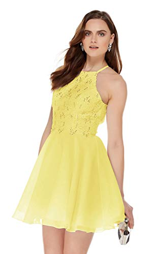 Women's Halter Spaghetti Strap Beaded Chiffon Lace Party Dress Short Evening Gown Yellow Size 12 ()