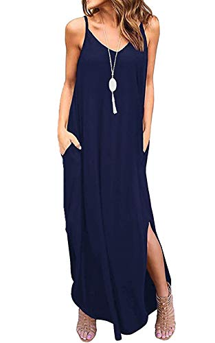 (Aifer Women's Summer Floral Print Boho Long Plain Dress Spaghetti Strap V-Neck Loose Beach Cami Maxi Sundress with Pockets (Navy Blue,)