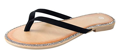Cambridge Välj Kvinna Crystal Strass Rem Flip-flop Slip-on Flat Sandal Svart