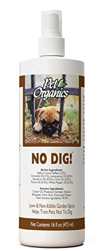 NaturVet - Pet Organics No Dig Yard & Lawn Spray - 16 oz - Helps Train Cats & Dogs Not to Dig - All Herbal & Plant Compound Enhanced with Essential Oils by Pet Organics