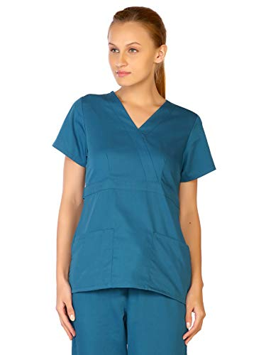 LifeThreads Classic Collection Women's Mock Wrap Scrub Top Caribbean Blue S