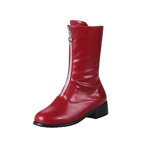GIY Women's Front Zipper Ankle Boots Round Toe Waterproof PU Leather Flats Platform Thick Heel Martin Boots Red