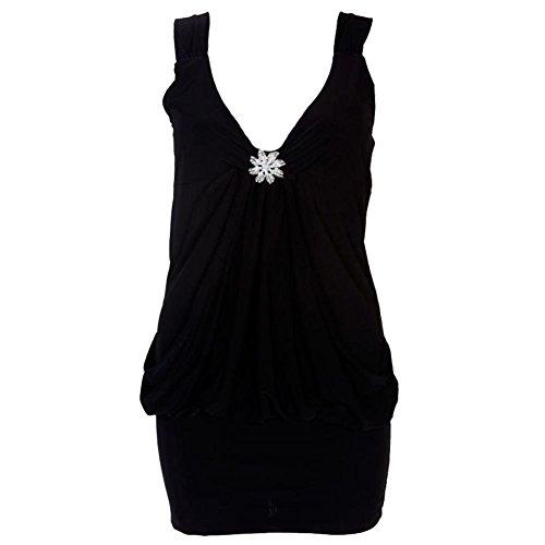 Neuf femmes Mini Broche Drape Robe de fte pour femme Club Robe Top Taille. 36C22 Noir - Noir