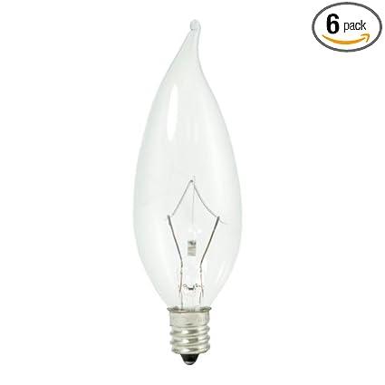 6 Bulbrite 460325 KR25CFC//32 25-Watt Dimmable Krypton Krystal Touch Flame Tip CA10 Chandelier Bulb Candelabra Base Clear