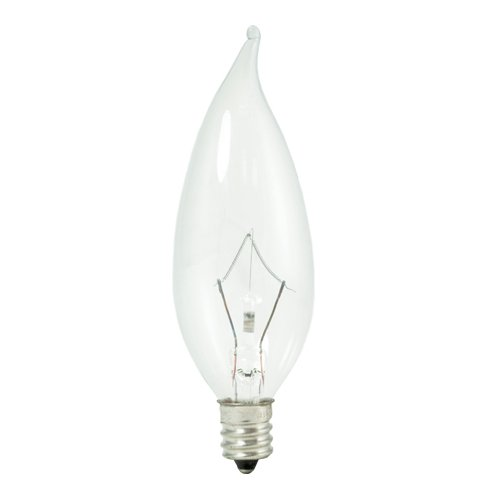 Bulbrite 460325 20PK - 25W - Flame Tip CA10 - E12 Base - 120V - 2600K- 3000Hr - Dimmable - Clear - Krystal Touch Krypton