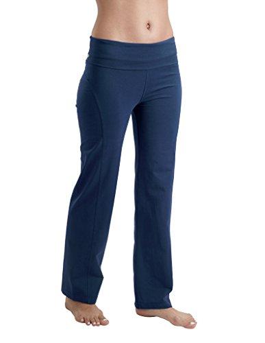 Proyog Organic Yoga Foldover Waist Pants Indigo Medium (29