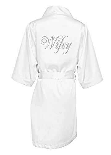 Glam Script Rhinestone Wifey Satin Robe Style GLAMWFYROBE, White, S/M