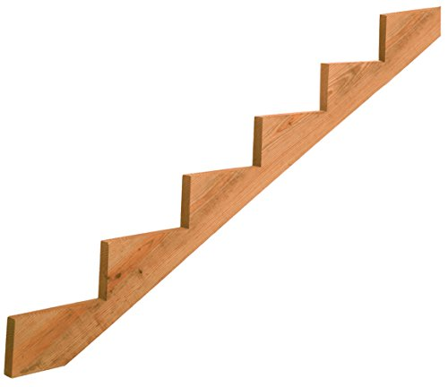 (6-Step Pressure-Treated Cedar-Tone Stair Stringer, Pre-cut, Pre-stained, Outdoor Use)