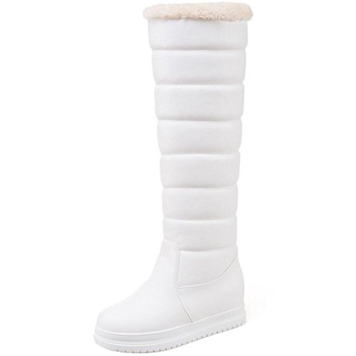 Boots Snow Warm White 2 COOLCEPT Flatform Pull Women On qwIAOgUx