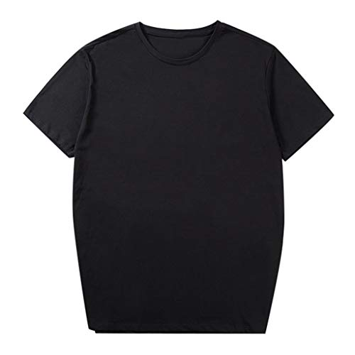 TOPUNDER Men Fashion Solid Cotton Design T-Shirt Casual Tops Blouse Plus Size 2xl-6xl Black