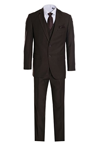 King Formal Wear Men's Premium Modern Fit Pinstripe Suit - Many Colors (Brown pinstripe, 42 Regular)… (Pinstripe Men Suit)