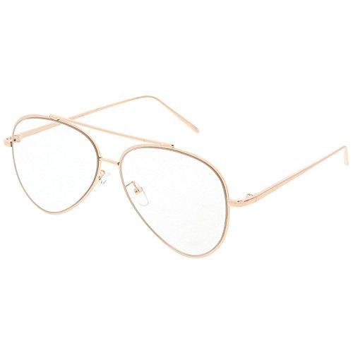 sunglassLA - Mod Fashion Metal Aviator Eyeglasses Teardrop Rimless Clear Flat Lens 58mm (Gold / - Eyeglasses Rimless Aviator