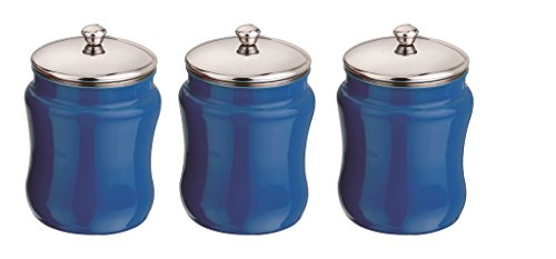 Mushroom Canister Set - Kitchen Kemistry, Convex Stainless Steel with Mushroom Lid Set, 3 Pieces, Cobalt Blue