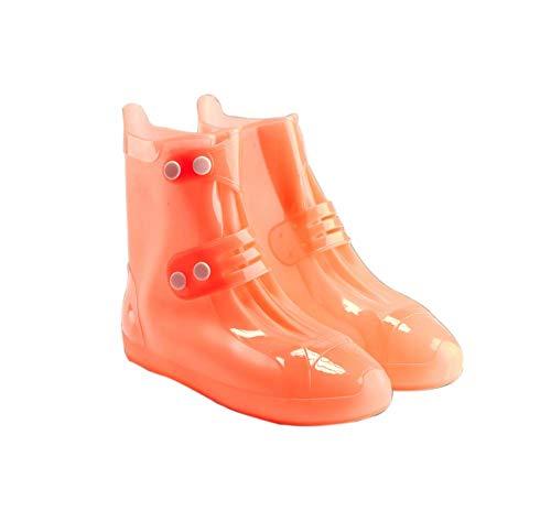 Kids Waterproof Shoe Cover 1 Pair Outdoor Rain Boots Cover for Children Rain Protector, Orange