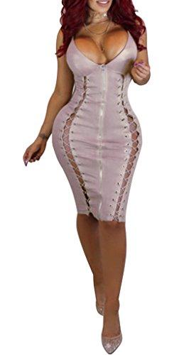 Lingerie Sexy Clubwear Womens Front Pink Bodysuit Tight Leather Straplesss OLUOLIN Zipper PU Knee Dress Length Mini 5YSnq