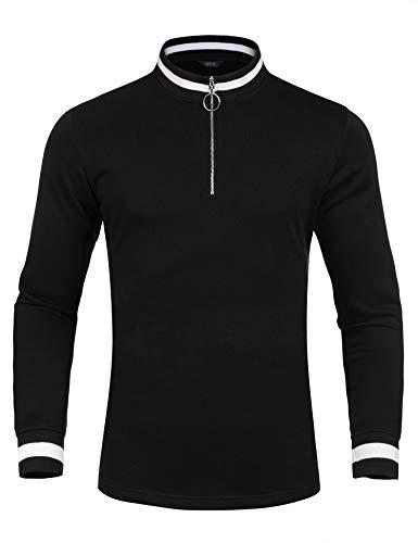 - COOFANDY Men's Quarter Zip Sporty Pullover Lightweight Long Sleeve Sweatshirt Black X-Large