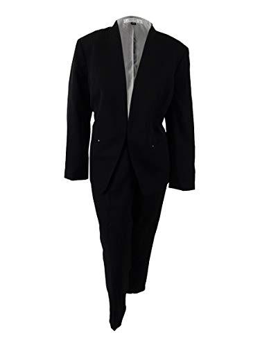 (Tahari ASL Women's Plus Size Pinstriped Pantsuit (18W, Black/Ivory))