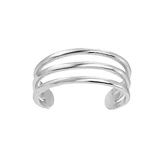 Ritastephens 14k White Gold Three Row Band Toe Ring Body Art Adjustable (Toe Ring Stylish)